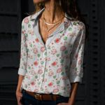 Floral Flamingos Cotton And Linen Casual Shirt KH15032110
