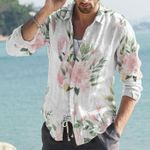 Floral Flamingos Cotton And Linen Casual Shirt KH15032114