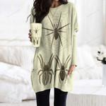 Vintage Spiders Pocket Long Top Women Blouse QA15032103