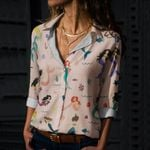 Colorful Mermaids Cotton And Linen Casual Shirt QA15032108