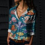 Marine Life Creatures Cotton And Linen Casual Shirt QA15032109