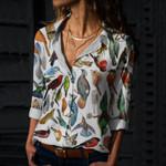 Piciformes - Woodpeckers, Toucans, Puffbirds, Jacamars Cotton And Linen Casual Shirt QA15032115