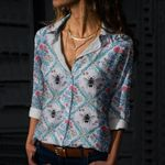 Floral Bees Cotton And Linen Casual Shirt QA16032109