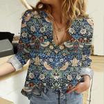 Bird Art Cotton And Linen Casual Shirt QA16032116
