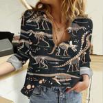 Dinosaur Fossil Cotton And Linen Casual Shirt QA18032107