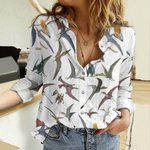 Flying Dinosaurs Cotton And Linen Casual Shirt QA22032103