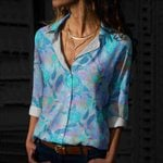 Floric Turtle Cotton And Linen Casual Shirt CH23032107
