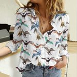 Flying Dinosaurs Cotton And Linen Casual Shirt QA23032117