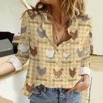 Backyard Chickens Cotton And Linen Casual Shirt QA25032101