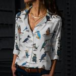 Kingfishers - Birdwatching Cotton And Linen Casual Shirt KH26032101