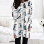 Kingfishers - Birdwatching Pocket Long Top Women Blouse KH26032101