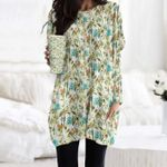 Flamingo - Birdwatching Pocket Long Top Women Blouse KH30032104