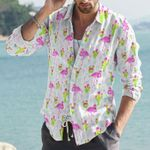 Flamingo And Cacti Cotton And Linen Casual Shirt KH31032119