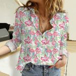 Flamingo - Birdwatching Cotton And Linen Casual Shirt KH01042110