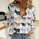 Funny Dairy Cattle Cotton And Linen Casual Shirt KH02042110