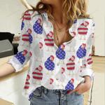 Chicken Flag Cotton And Linen Casual Shirt QA02042101