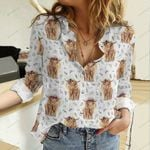 Highland Cow Cotton And Linen Casual Shirt QA15042101