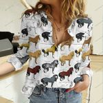 Horses Cotton And Linen Casual Shirt QA23042110