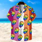 LGBT, Lesbian_Rainbow Lip Unisex Hawaii Shirt+ Beach Short KH07062109