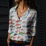 Caribbean Reef Fishes Cotton And Linen Casual Shirt QA10062101