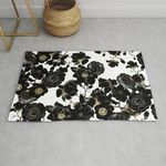 Modern Elegant Black White And Gold Floral Pattern Rug TTVNPDD DNNTVN