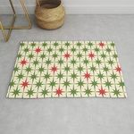 Mid Century Modern Retro Christmas Starburst Pattern In Retro Red And Green On Cream Rug TTVNOOA DNNTVN