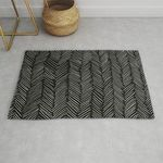 Herringbone Cream On Black Rug TTVNHLF DNNTVN