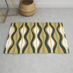 Hourglass Abstract Mid Century Modern Retro Pattern In Mustard Yellow Navy Blue Grey And White Rug TTVNIZA DNNTVN