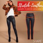 Stretch-Leather Warm Fleece Leggings