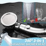 360° 3-In-1 Massaging Shower Head