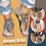 Animal Print Zipper Flat Sandals