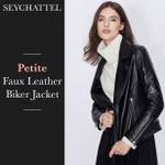 Seychattel™ Petite Faux Leather Biker Jacket