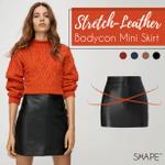 SHAPE™ Stretch-Leather Bodycon Mini Skirt
