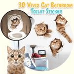 3D Vivid Cat Bathroom Toilet Sticker