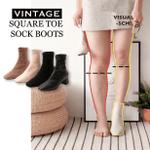 Vintage Square Toe Sock Boots