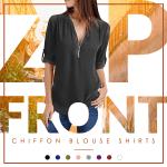 Zip-Front Chiffon Blouse Shirts