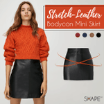 SHAPE™ Stretch-Leather Bodycon Mini Skirt