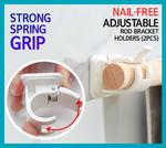 Nail-free Adjustable Rod Bracket Holders (2pcs)