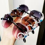 2020 Vintage Fashion Rimless Crystal Sunglasses
