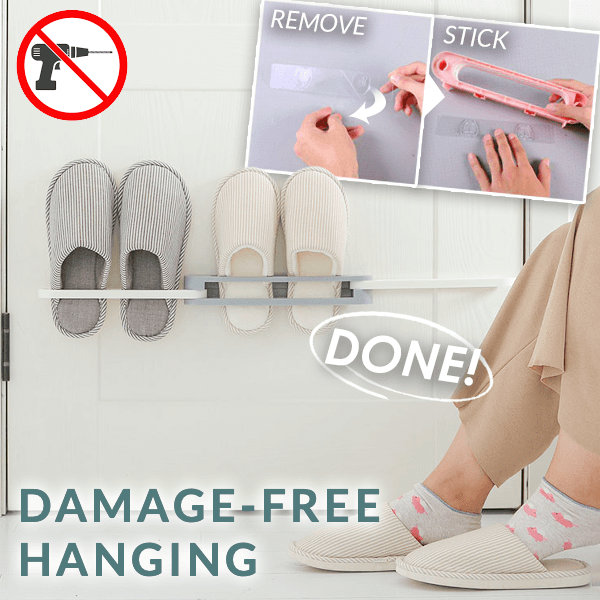 3-in-1 Drill-Free Slippers Rack