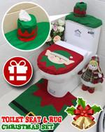 Toilet Seat & Rug Christmas Set
