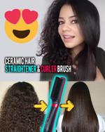 Ceramic Hair Straightener & Curler Brush - LimeTrifle