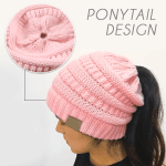 Easy-Wear Knitted Beanies For Ponytails
