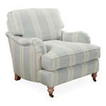 Brooke Club Chair, Blue Stripe