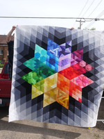 Abstract Colorful Geometry CLA1410030Q Quilt Blanket