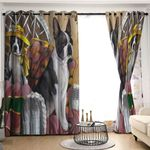 Boston Terrier Lady Blackout Thermal Grommet Two Panels Window Curtains HHH070762TH