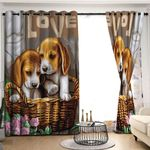 Beagle Blackout Thermal Grommet Two Panels Window Curtains HHH010762TH