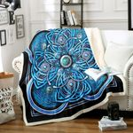 3d Sea Blue Celtic Cross HM1712010TT Sherpa Fleece Blanket