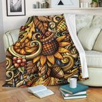 Abstract Sunflower CLH0111016F Sherpa Fleece Blanket