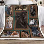 3d Huge Horse HB1101458S Sherpa Fleece Blanket